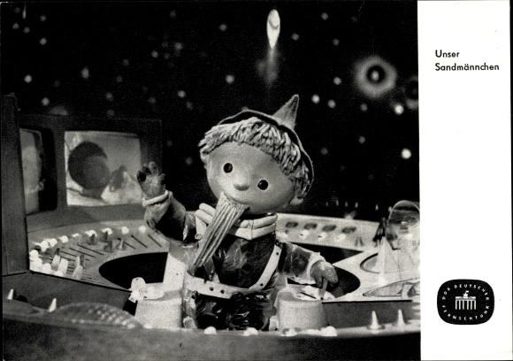 Ak Unser Sandmännchen, Sandmann, DDR Kinderfernsehen, Kosmonaut, S 94