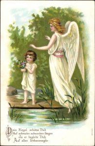 Präge Ak Schutzengel bewacht ein Kind am Wasser