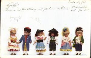 Ak Puppen in bunten Kleidern, Tschechisch