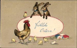 Präge Ak Glückwunsch Ostern, Osterhasen, Hahn, Küken