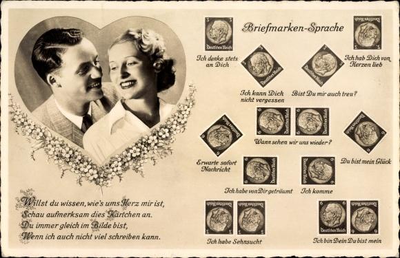 Briefmarken Ak Briefmarkensprache, Liebespaar, Du bist mein Glück, Bist Du mir auch treu, BNK 36605
