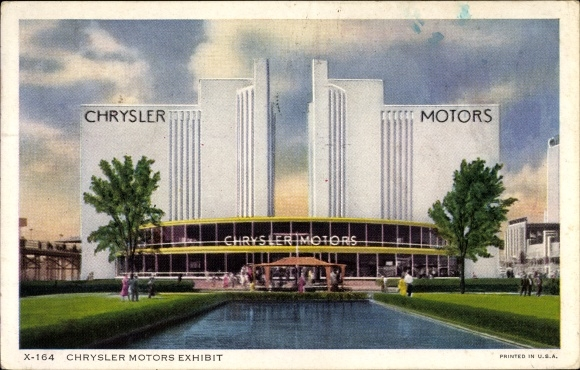 Ak Chicago Illinois USA, 1934 International Exposition, Chrysler Motors Building, Ausstellungshalle