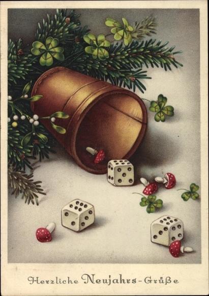 Ak Glückwunsch Neujahr, Drei Würfel, Würfelbecher, Kleeblätter, Fliegenpilze