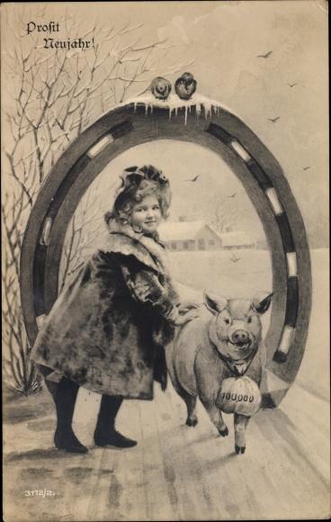 Ak Glückwunsch Neujahr, Mädchen mit Schwein unter einem Hufeisen, Geldsack
