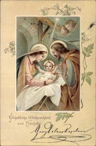 Präge Litho Glückwunsch Weihnachten und Neujahr, Maria und Josef mit Christuskind, Engel