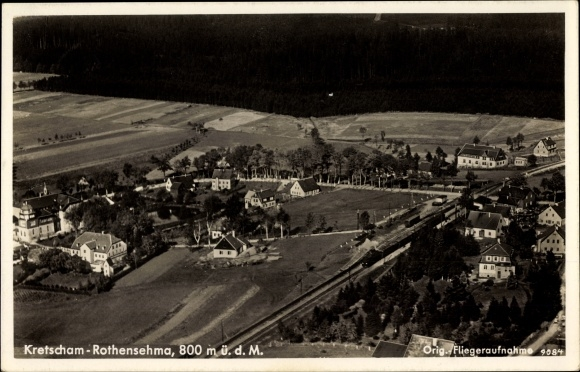 Ak Kretscham Rotensehma Sehmatal Erzgebirge, Totalansicht vom Ort, Fliegeraufnahme