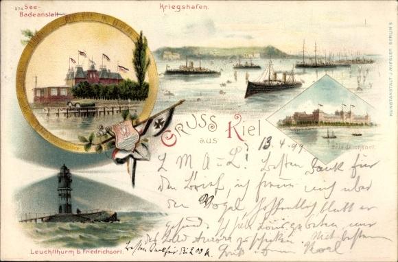 Litho Kiel in Schleswig Holstein, Seebadeanstalt, Kriegshafen, Leuchtturm bei Friedrichsort