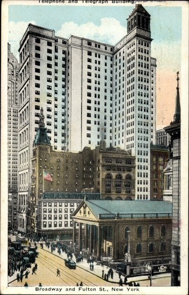 Ak New York City USA, Broadway and Fulton Street, Telephone and Telegraph Building