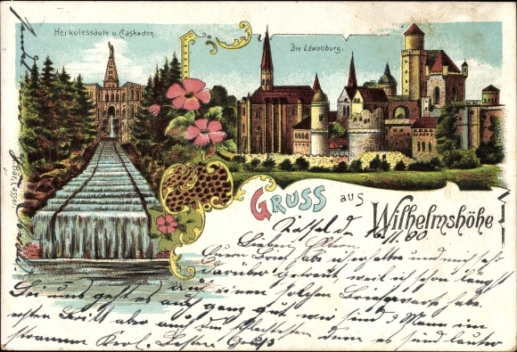 Litho Bad Wilhelmshöhe Kassel, Herkulessäule und Kaskaden, Löwenburg