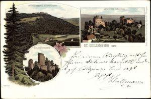 Litho Obernai Oberehnheim Elsass Bas Rhin, St. Odilienberg, Schloss Landsperg