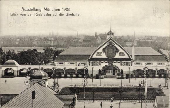 Ganzsachen Ak München, Ausstellung 1908, Blick von der Rodelbahn auf die Bierhalle