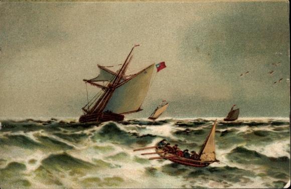 Litho Segelschiff auf dem Meer bei Sturm, Ruderboot