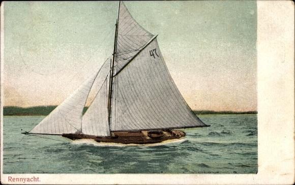 Ak Blick auf eine Rennyacht, Segelboot auf dem Wasser