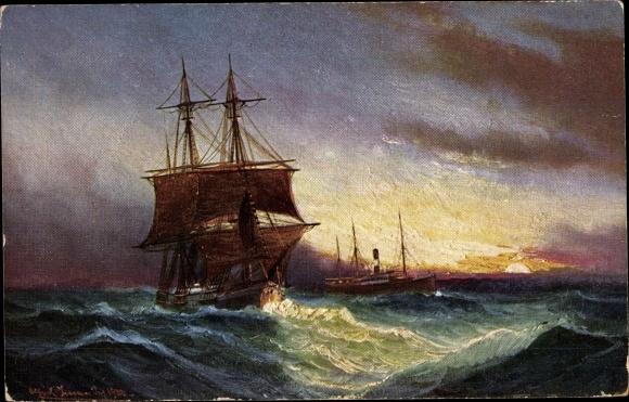 Künstler Ak Segelschiff und Dampfschiff auf dem Meer, Stroefer's Kunstverlag 587