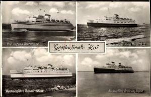 Ak Großenbrode Kai, Hochseefährschiffe Deutschland, Dronning Ingrid, Theodor Heuss, Kong Frederik IX