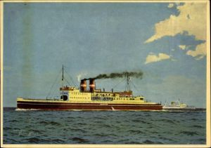Künstler Ak Fährschiff MS Danmark, Verbindung Großenbrode nach Gedser