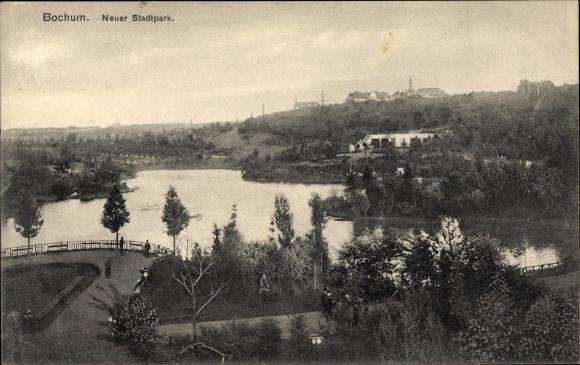 Ak Bochum im Ruhrgebiet, Blick auf den neuen Stadtpark, See