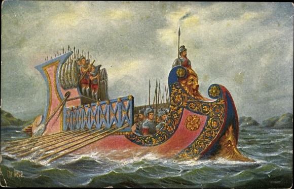 Künstler Ak Rave, Chr., Marine Galerie Nr. 19, Römisches Kriegsschiff, 1. Jhdt. v. Chr.