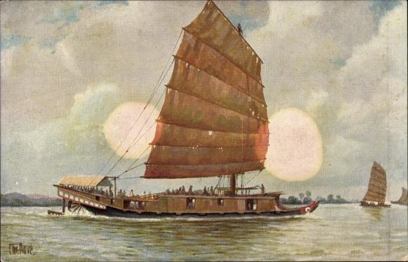 Künstler Ak Rave, Chr., Marine Galerie Nr. 12, Passagierboot auf dem Cantonfluss, China