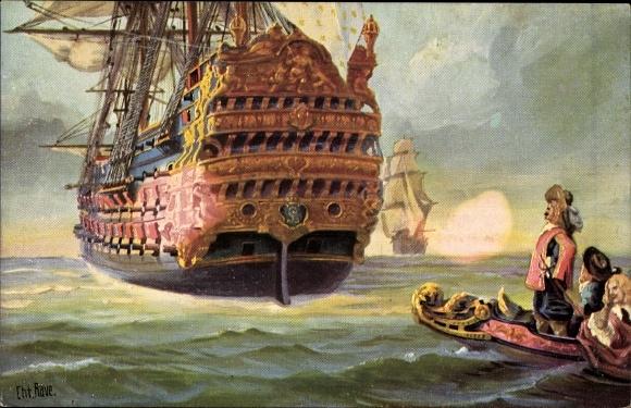 Künstler Ak Rave, Chr., Marine Galerie Nr. 25, Französischer Dreidecker Le Royal Louis, 17. Jhdt.