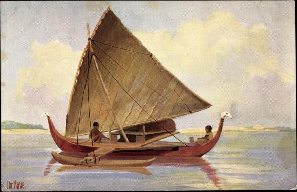 Künstler Ak Rave, Chr., Marine Galerie Nr. 85, Fischerboot mit Ausleger, Insel Jap, 19. Jahrhundert