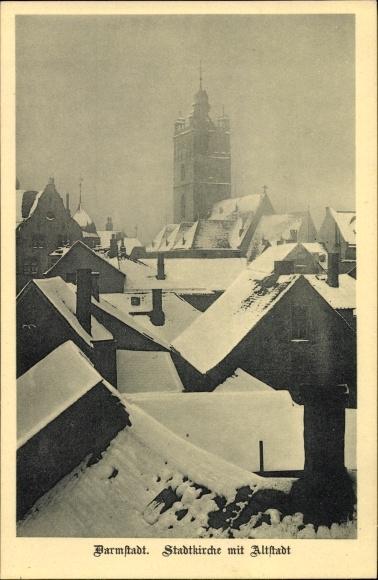 Ak Darmstadt in Hessen, Stadtkirche mit Altstadt im Winter