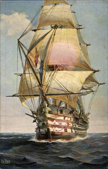 Künstler Ak Rave, Chr., Marine Galerie Nr. 34, Französischer Dreidecker Le Valmy, 1847