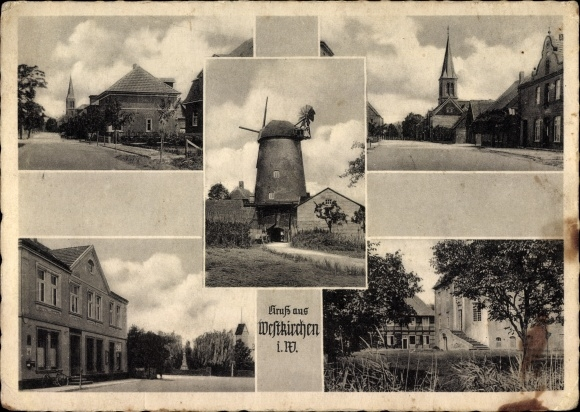 Ak Westkirchen Ennigerloh im Münsterland, Straßenpartien in Ortschaft, Ansicht von Windmühle