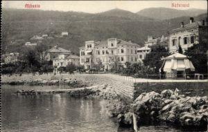 Ak Opatija Abbazia Kroatien, Partie am Südstrand, Kiosk
