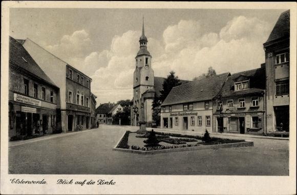 Ak Elsterwerda in Brandenburg, Noacks Buchhandlung, Geschäft Oswald Henker, Apotheke, Schuhmacher
