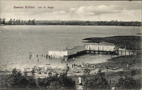Ak Einfeld Neumünster in Schleswig Holstein, Blick auf das Seebad, Inh. H. Nagel