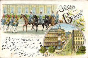 Litho Berlin Mitte, Der Kaiser bei Rückkehr von der Parade, Cafe Bauer, Kranzler