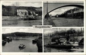 Ak Bergeshövede Hörstel Tecklenburger Land, Wirtschaft v. Fritz Klostermann, Brücke, Schleuse, Hafen