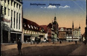 Ak Recklinghausen im Ruhrgebiet, Blick auf den Marktplatz
