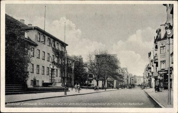 Ak Eberswalde im Kreis Barnim, Neue Kreuzstraße, Holzforschungsinstitut, Forstliche Hochschule