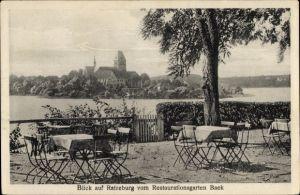 Ak Ratzeburg in Schleswig Holstein, Blick auf Ort vom Restaurationsgarten Baek, Inh. J. Schönborn