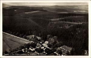 Ak Jägerhaus Schwarzenberg im Erzgebirge Sachsen, Fliegeraufnahme vom Ort mit Umgebung, Klinke 11543