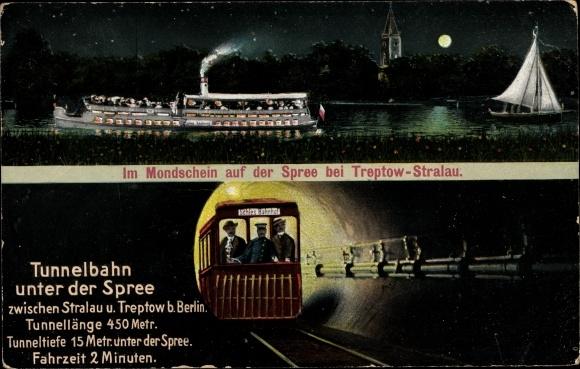 Mondschein Ak Berlin Treptow, Partie im Mondschein auf der Spree, Tunnelbahn unter der Spree