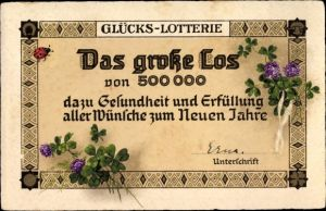 Ak Glückwunsch Neujahr, Glücks Lotterie, Das große Los von 500000