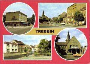 Ak Trebbin im Kreis Teltow Fläming, Kaufhaus Treffpunkt, Berliner Straße, Bahnhofstraße, Rathaus