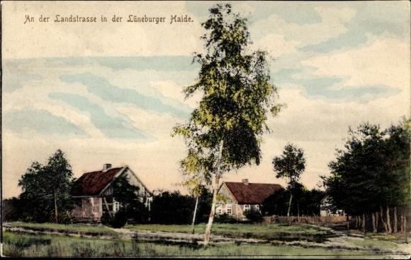 Ak Hanstedt in der Nordheide, Blick auf die Landstraße, Lüneburger Heide