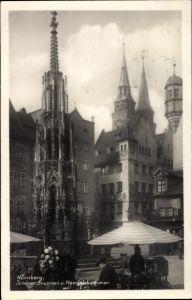 Ak Nürnberg in Mittelfranken Bayern, Schöner Brunnen und Handelskammer, Marktstand