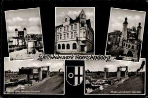Wappen Ak Waltrop Ruhrgebiet, Schiffshebewerk Henrichenburg, Gaststätte zur Schleuse, Inh. Kiddler