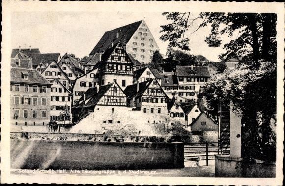 Ak Schwäbisch Hall in Baden Württemberg, Alte Häusergruppe an der Stadtmauer