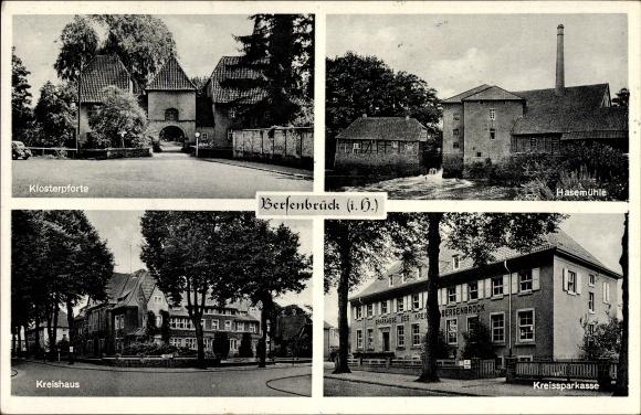 Ak Bersenbrück in Niedersachsen, Klosterpforte, Hasemühle, Kreishaus, Kreissparkasse
