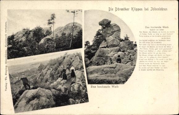 Ak Ibbenbüren im Tecklenburger Land, Felsenpartien, Dörenther Klippen, Das hockende Weib