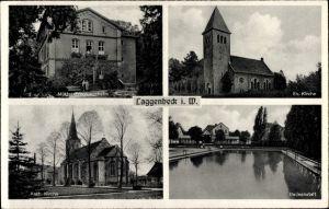 Ak Laggenbeck Ibbenbüren im Tecklenburger Land, Müttererholungsheim, Evang. und Kath. Kirche, Bad