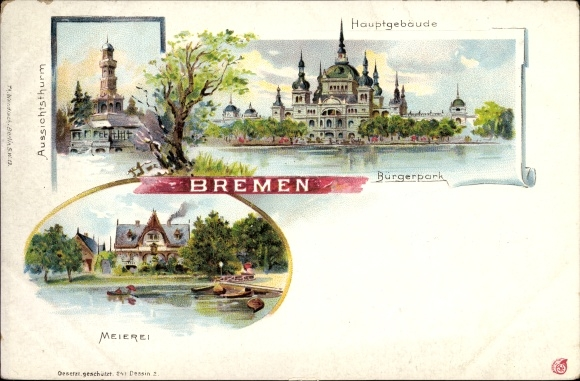 Litho Hansestadt Bremen, Aussichtsturm, Hauptgebäude, Bürgerpark, Meierei