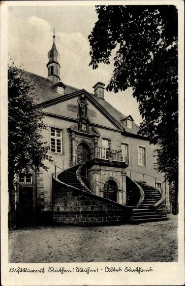 Ak Rüthen im Kreis Soest Nordrhein Westfalen, Vorderansicht vom alten Rathaus