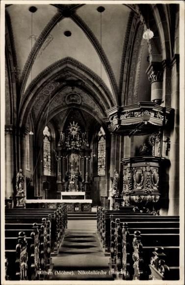 Ak Rüthen im Kreis Soest Nordrhein Westfalen, Innenansicht von Nikolaikirche